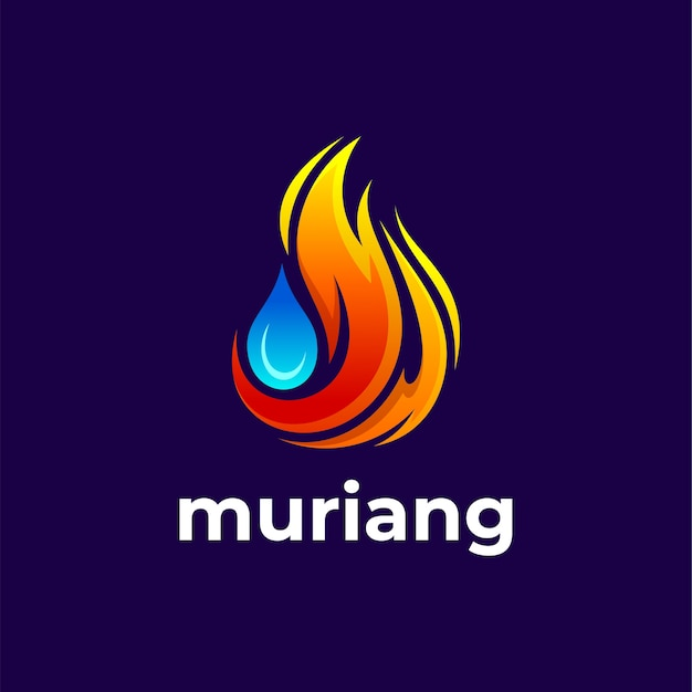 Vuur en druppel water voor logo-ontwerp voor koeling