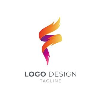 Vuur en letter f-logo