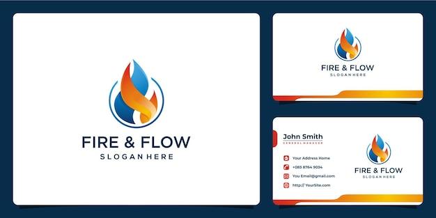 Vuur en stroom logo-ontwerp met sjabloon voor visitekaartjes