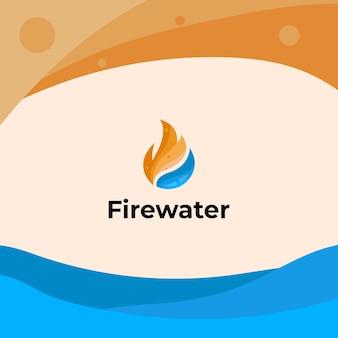 Vuur en water combinatie logo-ontwerp