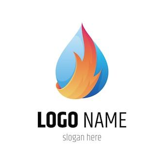 Vuur en water logo sjabloon