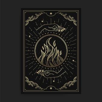 Vuur in een kristallen bol in twee handen, kaart illustratie met esoterische, boho, spirituele, geometrische, astrologie, magische thema's, voor tarotlezer kaart