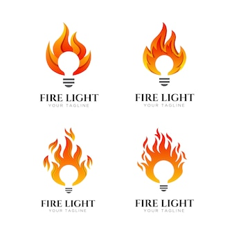 Vuur licht logo ontwerpsjabloon