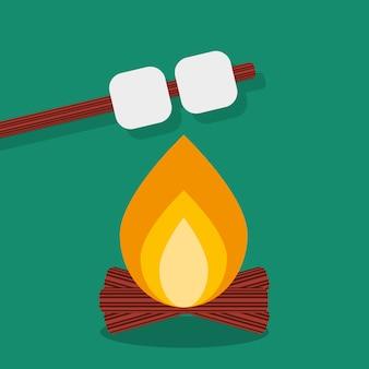 Vuur met marshmallow, campinggrill buiten. kampvuurnacht met voedselstok. vector illustratie