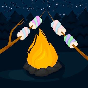 Vuur met marshmallow