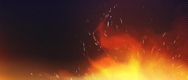 Vuur met sparkles en rook geïsoleerd op transparante achtergrond