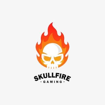 Vuur schedel ontwerp illustratie vector sjabloon