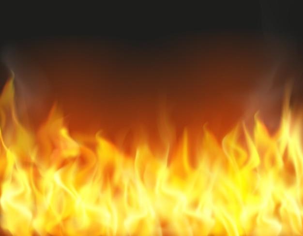 Vuur vlam achtergrond realistische vectorillustratie