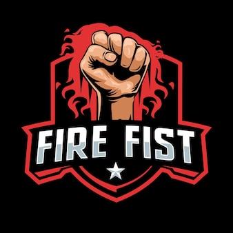 Vuur vuist mascotte logo