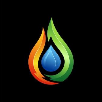 Vuur water logo ontwerp