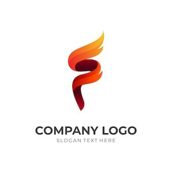 Vuurkarakter, vuur en letter f, combinatielogo met 3d-kleurrijke stijl