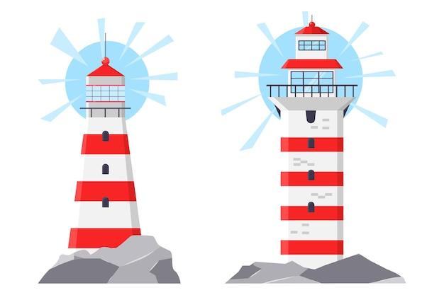 Vuurtoren cartoon afbeelding geïsoleerd op een witte achtergrond