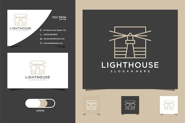 Vuurtoren eenvoudig logo-ontwerp en visitekaartje