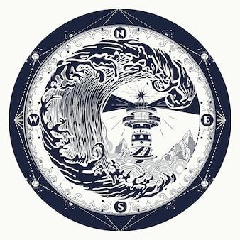 Vuurtoren en roos kompas tattoo