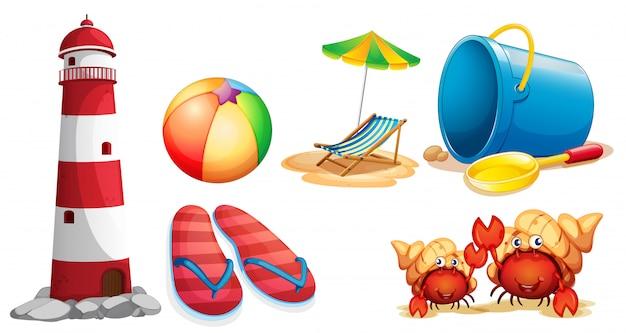 Vuurtoren en verschillende soorten strandartikelen