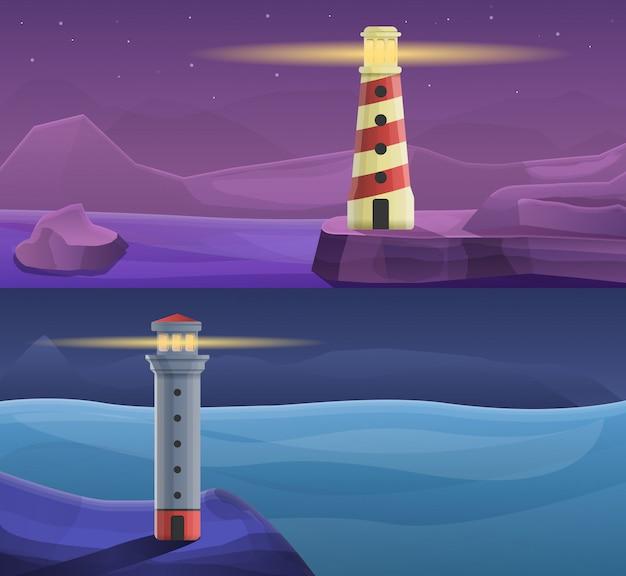 Vuurtoren kust illustratie set, cartoon stijl