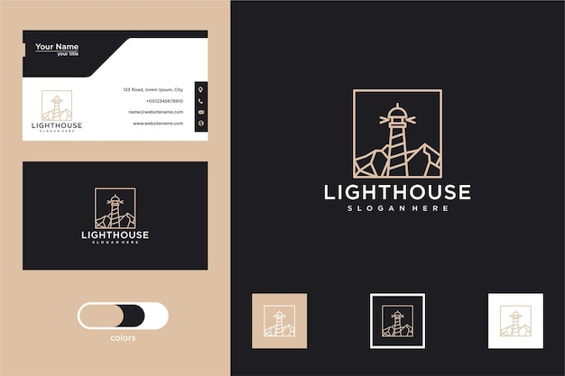 Vuurtoren lijntekeningen logo ontwerp en visitekaartje