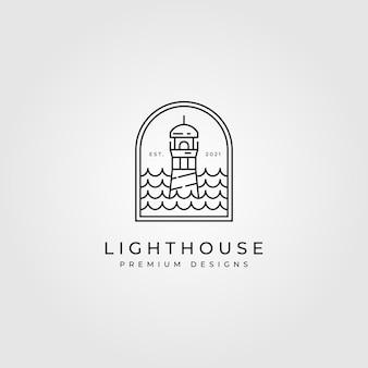 Vuurtoren logo lijntekeningen ontwerp illustratie