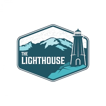 Vuurtoren logo ontwerp, eiland met vuurtoren