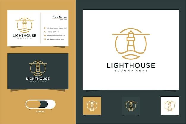 Vuurtoren logo-ontwerp met lijnstijl en visitekaartje Premium Vector