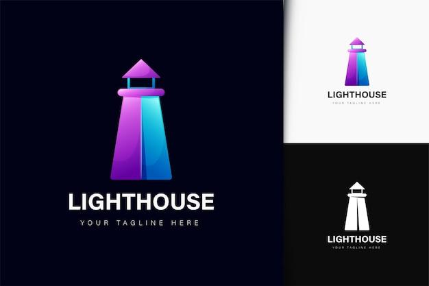 Vuurtoren logo-ontwerp met verloop