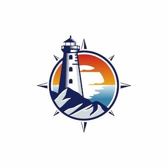 Vuurtoren logo ontwerp sjabloon illustratie