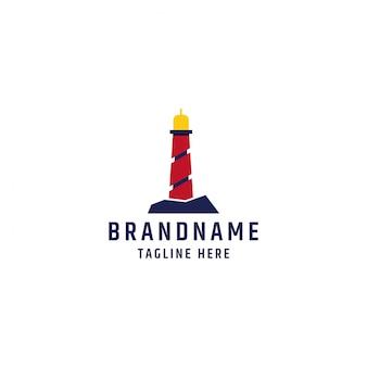 Vuurtoren logo ontwerpsjabloon premium vector