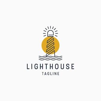Vuurtoren logo ontwerpsjabloon