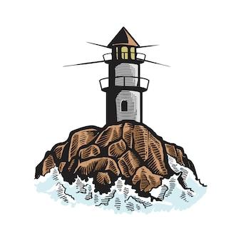 Vuurtoren, mercusuar tekening pictogram logo
