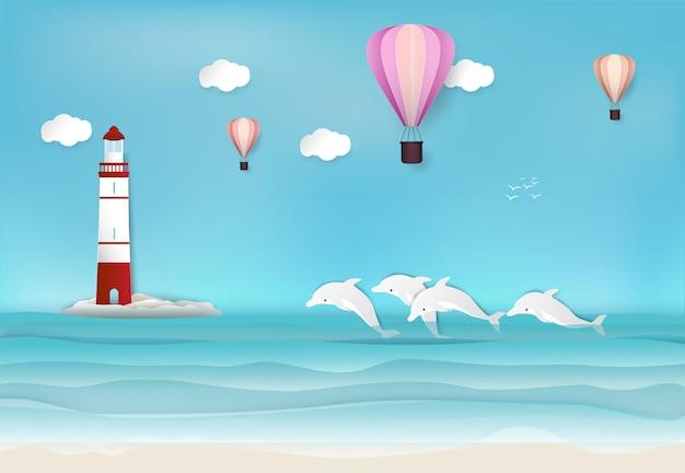 Vuurtoren met hete luchtballon