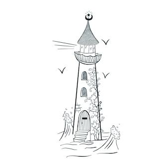 Vuurtoren met klimop gravure stijl lijntekeningen. hand getekende magische baken geïsoleerde vectorillustratie voor logo, tatoeage, embleem, sticker, poster, t-shirt, sjabloon, print, textiel