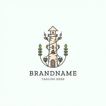 Vuurtoren met natuur verspreid bloem logo ontwerpsjabloon