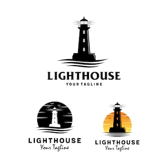 Vuurtoren met oceaan golf logo ontwerp