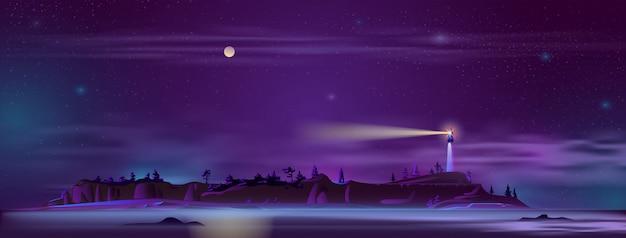 Vuurtoren 's nachts op de heuvel
