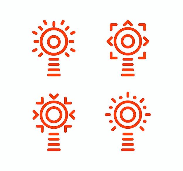 Vuurtoren vector geïsoleerde set van pictogrammen. overzicht eenvoudige ontwerpstijl. idee concept-logo. logotype sjabloon voor navigatiesystemen. vectoren