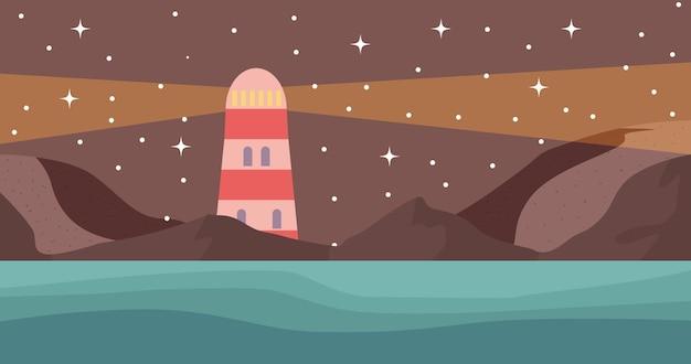 Vuurtoren zee nacht hemel sterren landschap vectorillustratie