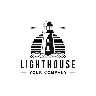 Vuurtoren zwarte lijnen logo ontwerp
