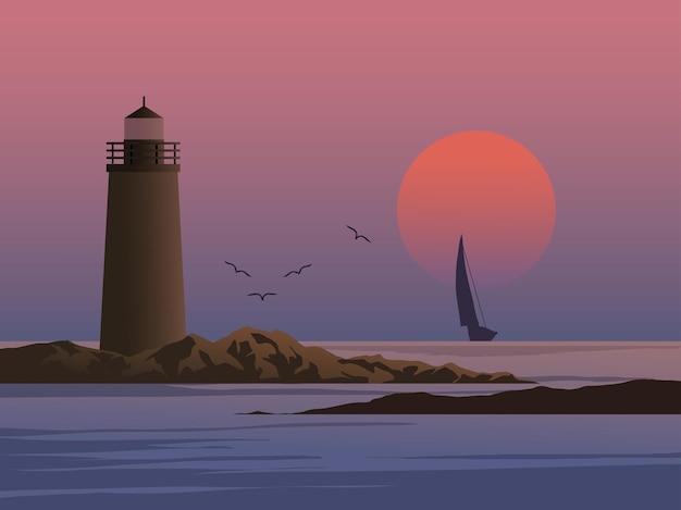 Vuurtoreneiland op zonsondergang met zeilboot en vogels
