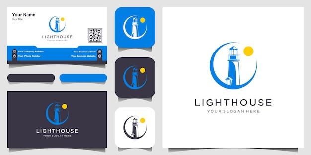 Vuurtorens en swoosh sjabloon voor modern lineair eenvoudig logo
