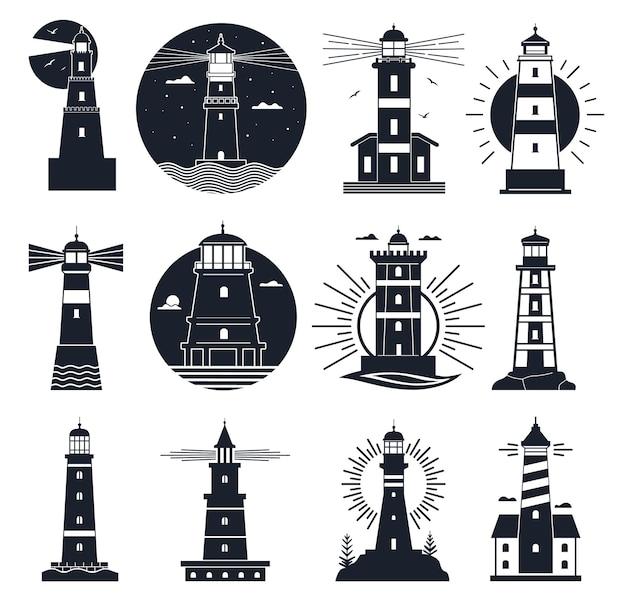 Vuurtorens logo. nautisch vintage label, zeebakens, oceaan met golven en meeuwen. nacht vuurtoren toren, navigatie gebouw vector set. vuurtoren nautisch logo, reisbaken zwart