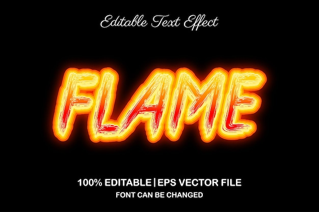 Vuurvlam 3d bewerkbaar teksteffect