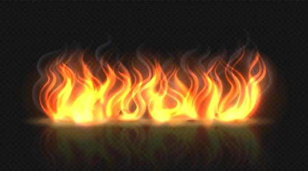 Vuurvlameffect met rookillustratie