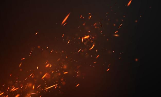 Vuurvlammen brandende roodgloeiende vonken realistische abstracte achtergrond
