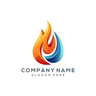Vuurwater logo ontwerp