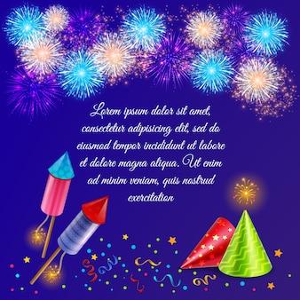 Vuurwerk compositie met sierlijke vuurwerk afbeeldingen van vuurwerk, feestmutsen en confetti met tekst