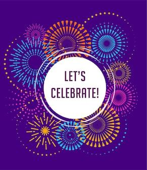 Vuurwerk en feest achtergrond, winnaar, overwinning poster, banner Premium Vector