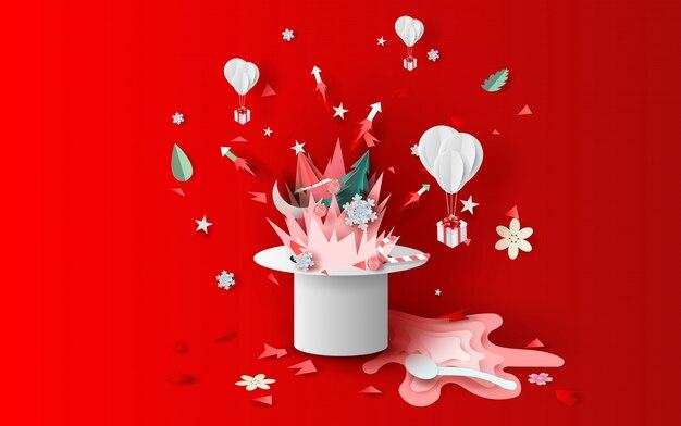Vuurwerk in kerstmis met hoed