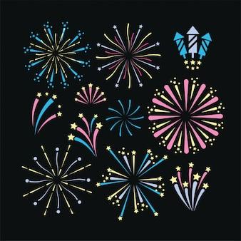 Vuurwerk nacht decoratie om vakantie te vieren