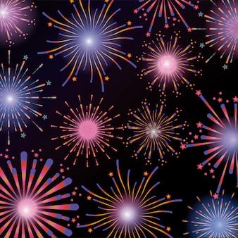 Vuurwerk nachtviering explosie naar vakantie