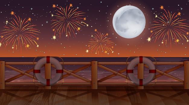 Vuurwerk op de hemel van uitzicht op het strand